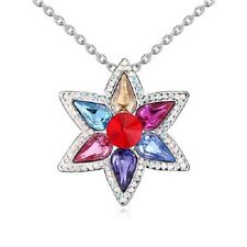 18K White Gold Plated Made with Swarovski Elements Multicolour Big Star Necklace