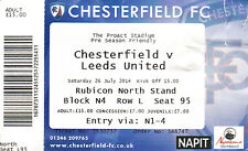 Chesterfield v Leeds Ticket P.S.F Saturday 26/07/2014 (2014-2015)