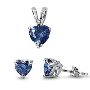 Blue Sapphire Heart Pendant & Earrings Set .925 Sterling Silver