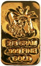 GOLD 2/3 GRAM 24K PURE GOLD BULLION BAR 999 FINE PURE GOLD H1d
