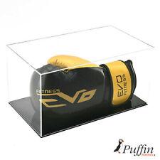 More details for boxing glove display case - single landscape (black base)