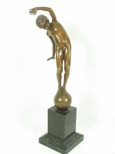 Antique Bronze JOHANNES GOETZ Boy On Ball On A Square Marble H. Gladenbeck Sohne