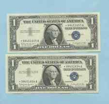 TWO ONE DOLLAR SILVER CERTIFICATES 1957 B UNC SEQUENTIAL *99451654A STAR NOTES