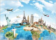 World Map Famous Monuments Landmarks Large Poster Art Print A0 A1 A2 A3 A4 Maxi