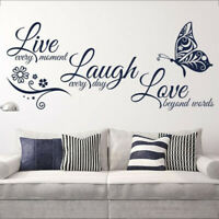 Live Laugh Love Quotes Butterfly Wall Stickers Art Room Decal Home DIY Decor