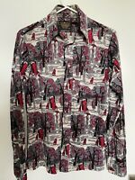 Vintage 70s Disco Shirt Silky Nylon Photo Print Graphic Size S 14-14 1/2