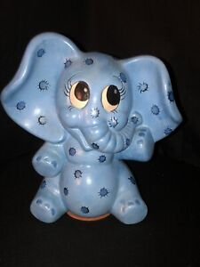 Vintage 1981 Hand painted Blue Ceramic Baby Elephant Dumbo Blue Coin Bank Signed