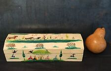 Vtg SALVADOR CORONA signed folk art painted wood BOX Bullfight listed artist