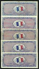 Lot 5 X 100 Francs 1944 Drapeau Sans Série TB à TTB