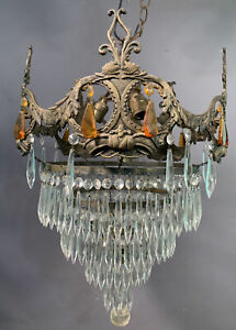 LG Antique 1920's WATERFALL Style HANGING CRYSTALS Salvaged CHANDELIER Old LAMP