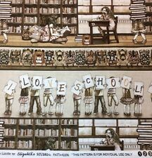 I Love School Growing Up Stripe Fabric Sepia Tracy Lizotte Library Kids 4306