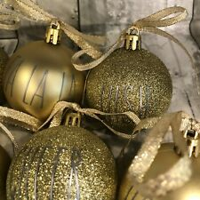 Rae Dunn Inspired Christmas Ornaments Gold