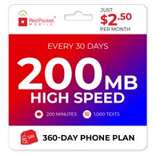 $2.50/Mo Red Pocket Prepaid Plan: 200 Talk 1000 Text 200MB
