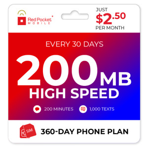 $2.50/Mo Red Pocket Prepaid Plan: 200 Talk 1000 Text 200MB