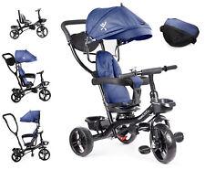 Kinderdreirad Kinderwagen A198 Babydreirad mit Dach Schiebestange Dreirad Blau