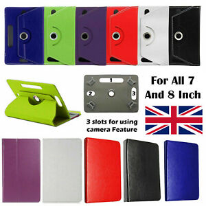 """New 360 Rotating Leather Case Cover Stand For All Amazon Fire 7"""", 8"""" Tablets UK"""