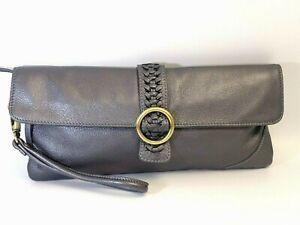 CLARKS ENGLAND Envelope Clutch Gray Leather Baguette Wrist Strap Purse