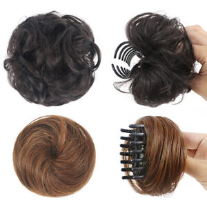Natural Curly Straight Messy Bun Hair Piece Scrunchie Real Thick Hair Extensions