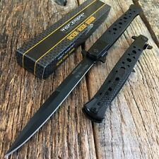 "TAC FORCE 13"" Extra Large Spring Assisted Open STILETTO Pocket Knife BLACK"