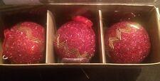 Lot Of 3 Red Shiny Christmas Tree Ornament Decoration Handmade