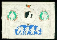 Small Lace Paper Windsor Valentine w Mirror, Wafers & Dancing Cherubs c1850s