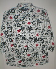 "Preston & York red & black flower print on white cotton 3/4 sl blouse  8- 41""EC"