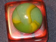 RARE BASE Opalescent Girl Scout/Lemon Lime VINTAGE PELTIER GLASS MARBLE MINT