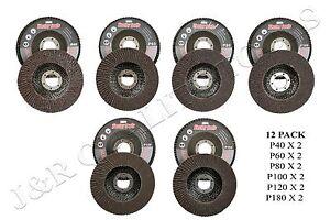 """12 Assorted GRIT 4 1/2"""" ANGLE GRINDER SANDING FLAP DISC 40/60/80/100/120/180"""