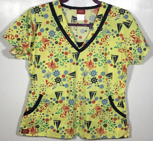 Scrub Top womens size S Small by Dickies Nautical Ships Wheel Sailboat navy blue