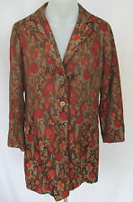 COLDWATER CREEK Womens BOHO CHIC VINTAGE STYLE COAT XL Floral Pattern embroidery