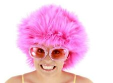 Neon Fuchsia Purple Fuzzy Wig Adult Costume Accessory NEW Rave 80s Afro