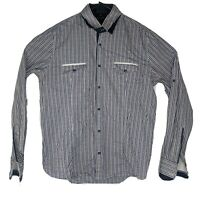 Politix Mens L Purple Blue Button Up Shirt Check Long Sleeve Slim Fit Plaid