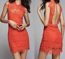 Intimately byFree People Daydream Coral Open Back Lace Mini Dress Stretch Sz Lar