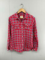 Hollister California Womens Red Blue Check Long Sleeve Western Shirt Top Size S