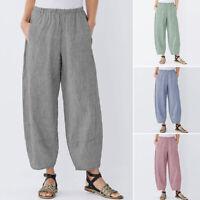 ZANZEA Women Elastic Waist Casual Wide Legs Harem Pants Long Pants Trousers Plus