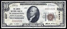 1929 $10 THE LINCOLN NB OF WASHINGTON, D.C. NATIONAL CURRENCY CH. #4247 XF+