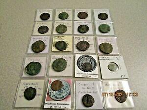 Ancient 20 Coin Roman Empire Collection 15BC-423 AD As, Dupondius & Sestertius