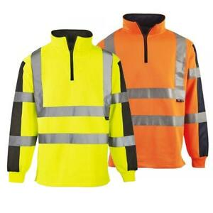 Hi Vis 2 Tone Construction Safety Workwear Traffic Rugby Shirt Visibility jumper