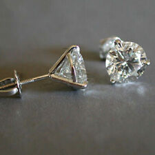 Fashion Women White Sapphire 925 Silver Stud Earrings Exquisite Wedding Jewelry