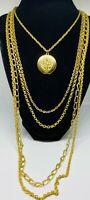 Vintage Retro Goldette Victorian Style Gold Tone Multi-Chain (5) Art Deco Locket