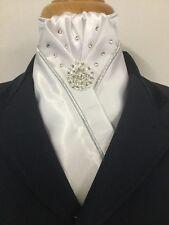 HHD The Bella Show Stock Tie White /& Black Satin Free Pin Included
