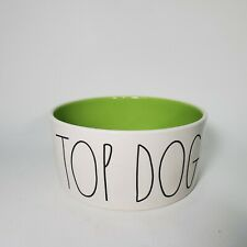 "Rae Dunn - TOP DOG -  Green Ceramic S-M Dog Pet Bowl 6"""