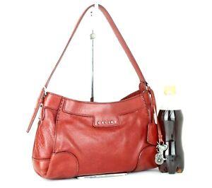 Auth CELINE Red Leather Hobo Shoulder Bag Handbag Italy WC.PA-003 Good Vintage