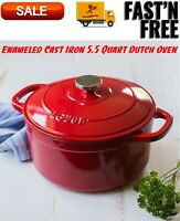 Lodge Enameled Cast Iron 5.5 Quart Dutch Oven, Cookware, Pots & Pans, Red Color