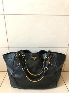 X LARGE Authentic Women's PRADA Milano Leather Handbag Shopper Satchel Bag Black