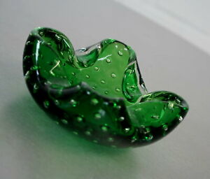 edler Murano Bubble Glas Aschenbecher Ascher Ashtray Grün Vintage 60er Jahre RAR