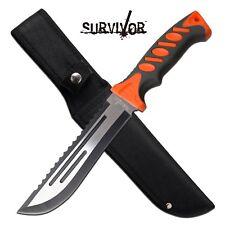 "Survival Knife | 7"" Blade Reverse Serrated Full Tang Black Orange + Sheath"