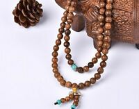 Hot 7mm Sandalwood Buddhist Buddha Meditation Prayer Bead Mala Bracelet/Necklace