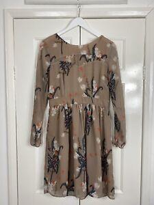 Oliver Bonas Poem Dress UK 12 Brown Floral Semi Sheer Floaty Spring Autumn