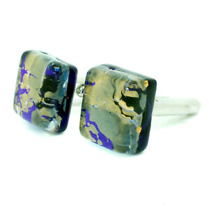 Murano Glass Cufflinks Square Blue and Gold Cufflinks from Venice